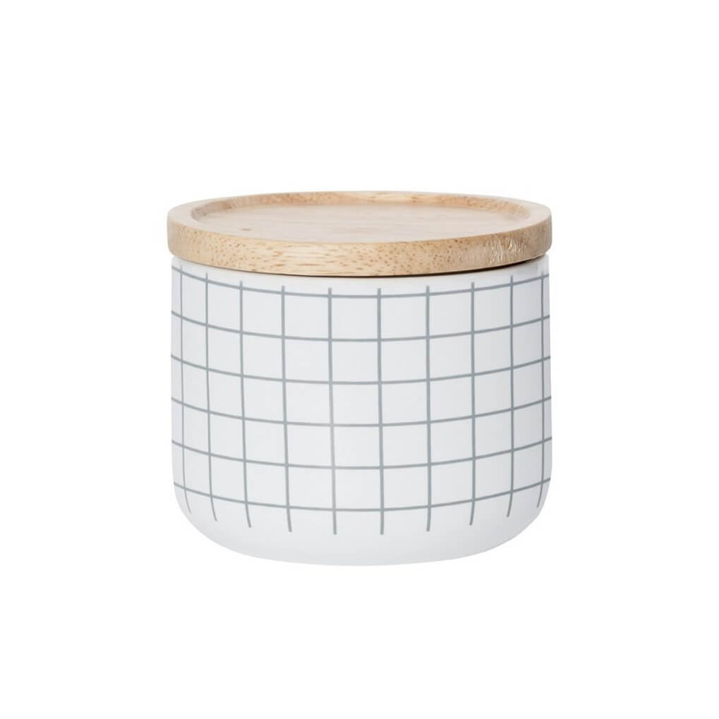 Grey Grid Small Canister