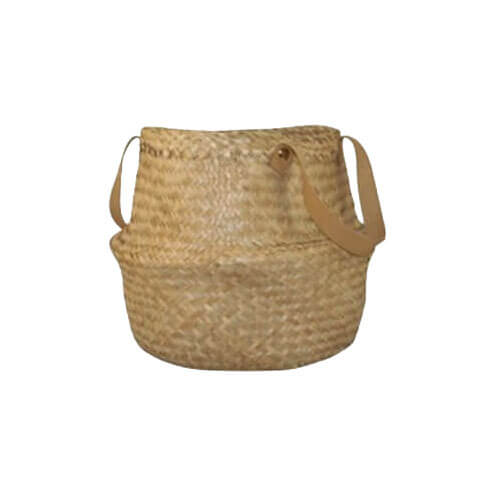 Leather Handle Belly Basket