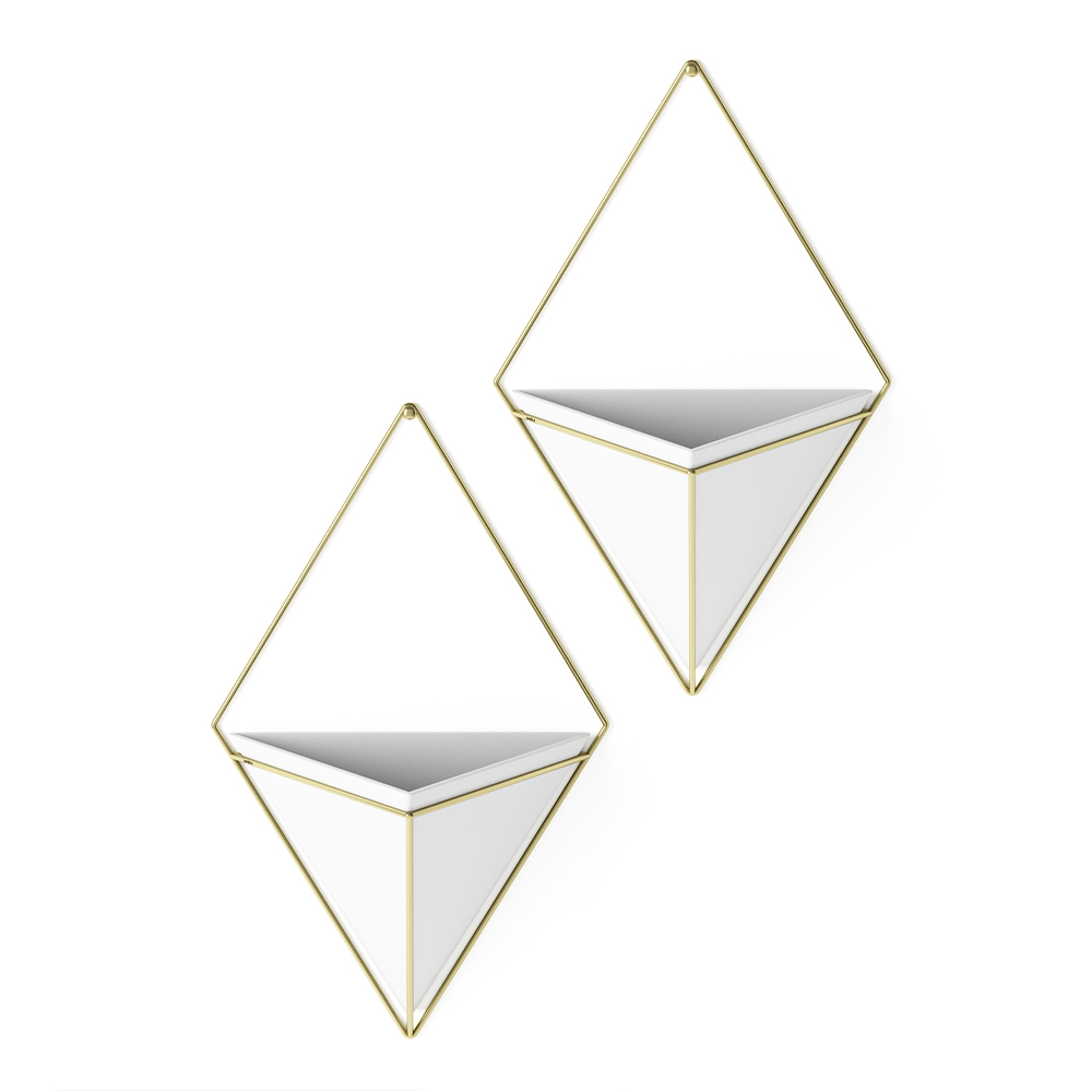Trigg Small Wall Display Set Of 2 White Brass