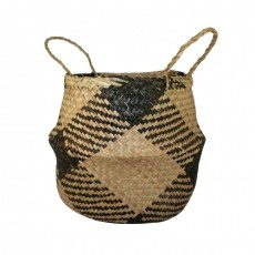Plaid Seagrass Belly Basket