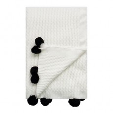 Seed Throw White With Black Pompoms
