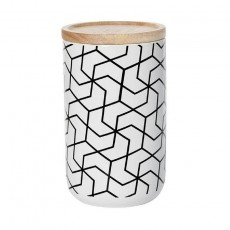Spiral Hex Black Tall Canister