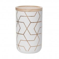 Spiral Hex Gold Tall Kitchen Canister