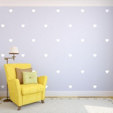 White Hearts Wall Decals