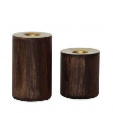 Wooden Candle Holders Set Of 2