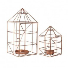 Copper House Wire Candle Holders