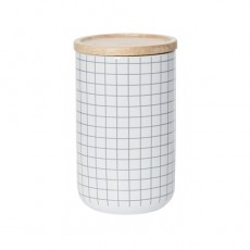 Grey Grid Tall Canister