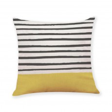 Yellow Black And White Striped Cushion